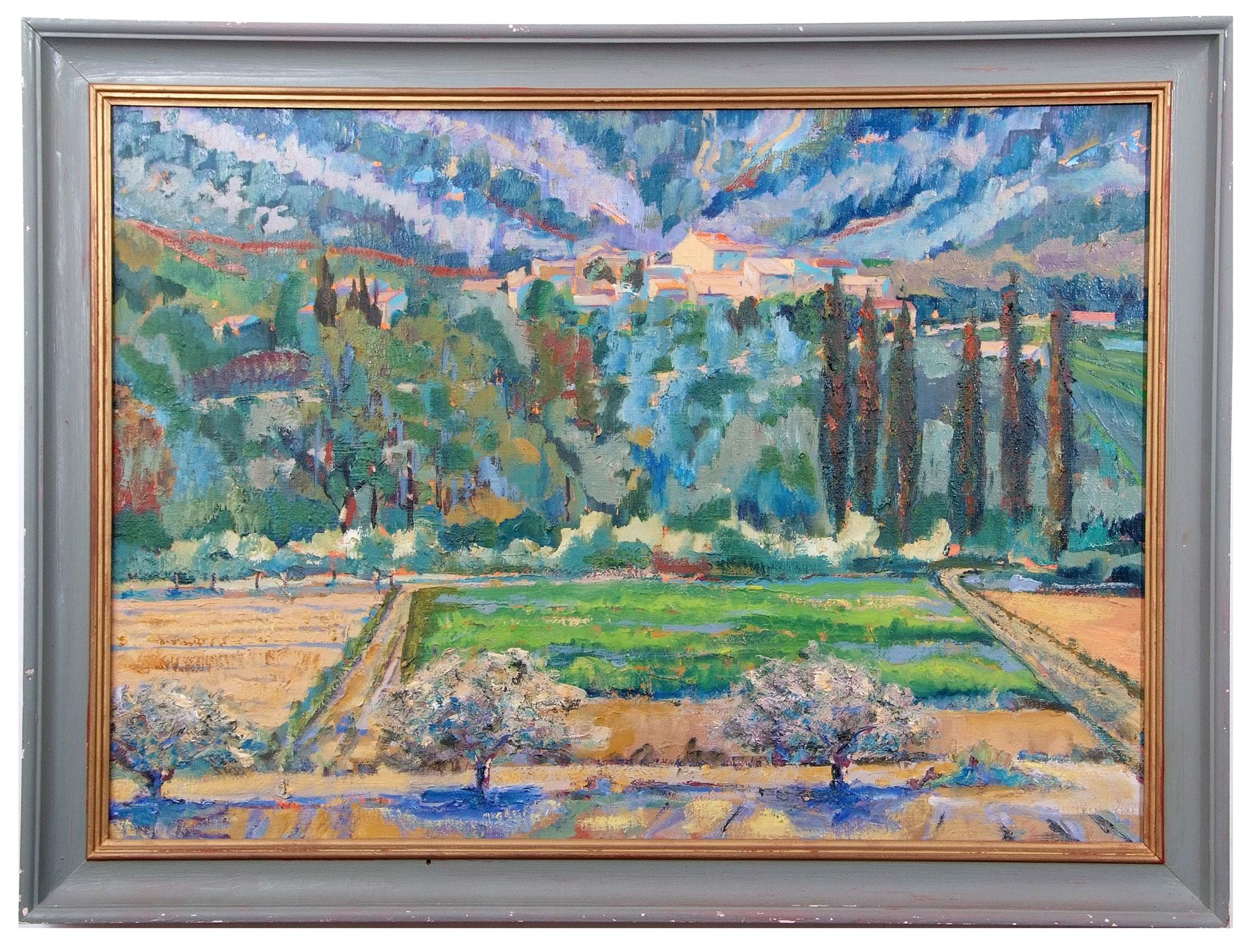 •AR Martin Battye (born 1952), Continental landscape, oil on canvas, 49 x 69cm