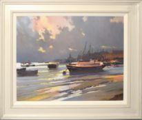 "•AR Gordon Hereward Hales, RSMA, FRSA, ""Low Water, Battersea"", oil on board, signed and indistinctly"