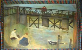 •AR Tessa Newcomb (born 1955), River scene with couple by a bridge, further figure on a bike, oil on