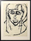 "•AR Derek Southall (1930-2011), Portrait of Zela, ink drawing, signed and inscribed ""Berlin 54"""