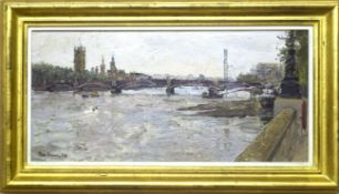 "•AR Peter Brown, NEAC (born 1967), ""Lambeth Bridge"", oil on canvas, signed and dated 04 lower"