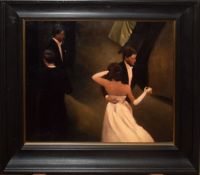 •AR Anne Magill (born 1962), Ballroom dancing, oil on board, signed lower left, 46 x 58cm