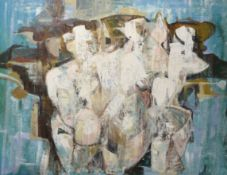 Modern School (20th century), Abstract composition, oil on board, bearing inscription verso ""