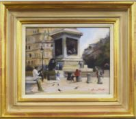 "•AR Harriet Salt (born 1975), ""Lunch in Trafalgar Square"", oil on panel, signed lower right, 20 x"
