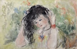 •AR Elinor Bellingham Smith (1906-1988), Girl with dark hair, watercolour, 24 x 36cm