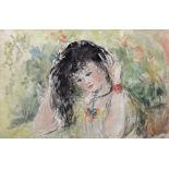 •AR Elinor Bellingham Smith (1906-1988), Girl with dark hair, watercolour, 24 x 36cm