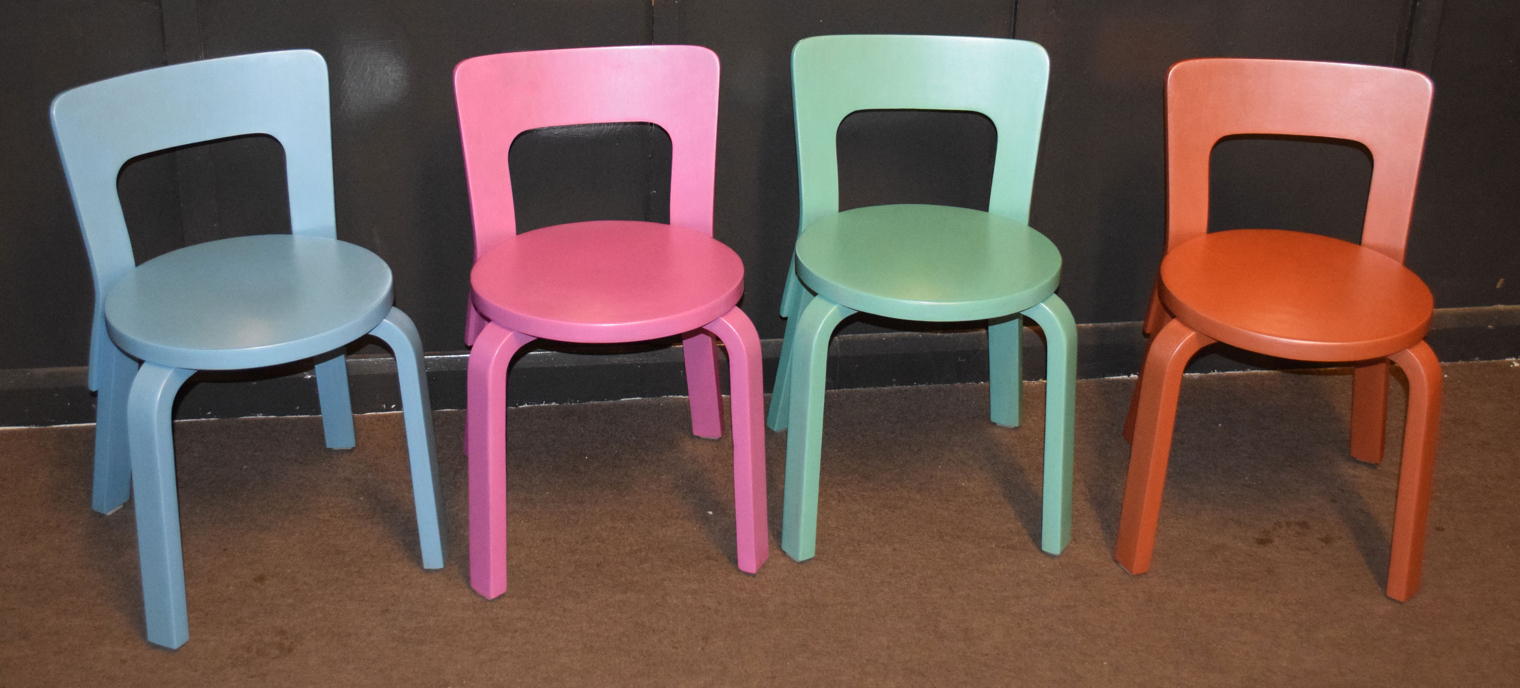Alvar Aalto 65 for Finmar Ltd set of four painted chairs with Finmar ivorine plaques, 60cm high (4)