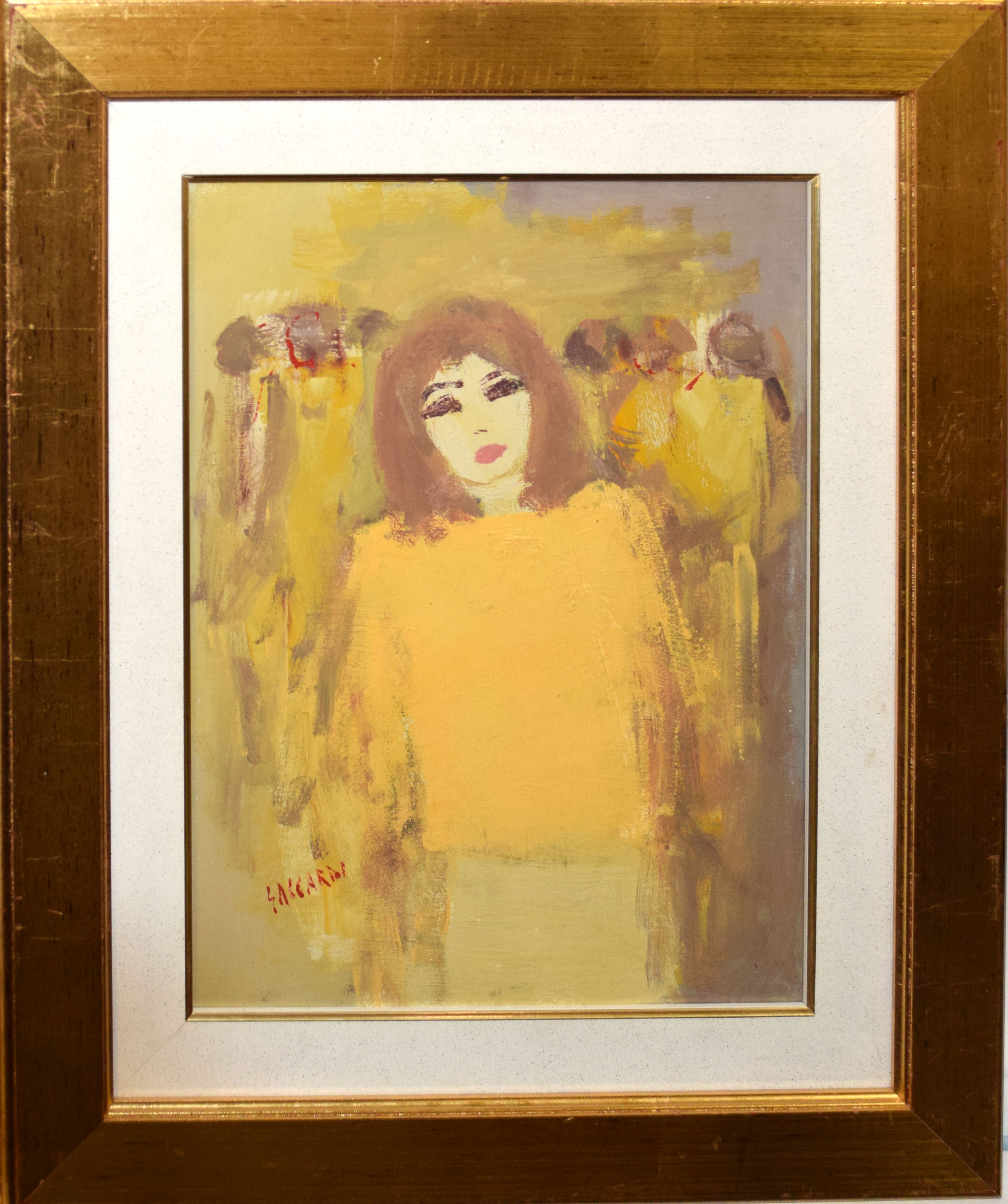 •AR Carlo Saccardi (1921-1997), Woman in yellow dress, oil on canvas, signed lower left, 39 x 29cm