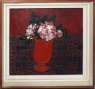 "•AR Brenda King (1934-2011), ""Roses in a red vase"", oil on board, signed and dated 67 lower right,"