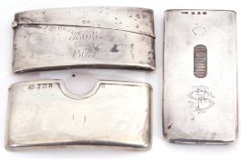 Mixed Lot: Needhams Patent Mechanical silver calling card case of rectangular form with sliding