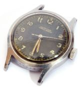 Second quarter of the 20th century mid-sized stainless steel cased wrist watch, the face