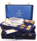 Blue leatherette case of Solingen gold plated flatwares in fitted case, three layers