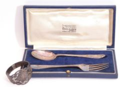 Cased silver christening spoon and fork, London 1940, maker's mark for Goldsmiths & Silversmiths