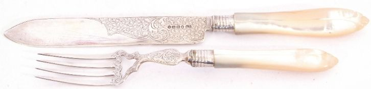 Pair of Victorian silver bladed and mother of pearl handled servers, Birmingham 1896, maker's mark