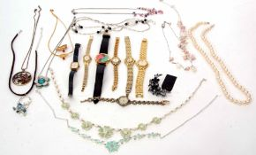 Four boxes of costume jewellery and ladies wristwatches to include necklaces, faux pearls etc