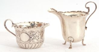 Mixed Lot: small Victorian cream jug, the body decorated with a foliate design with three vacant