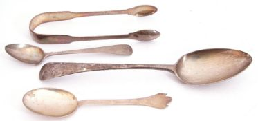 Mixed Lot: George III table spoon, Old English pattern, London 1791 by George Smith & William Fearn,