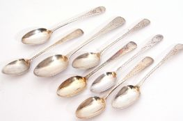 Group of seven George III bright cut Old English tea spoons, various dates and makers, together with