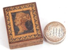 Unmarked 19th century circular white metal patch box with screw on lid, the top bearing an elaborate