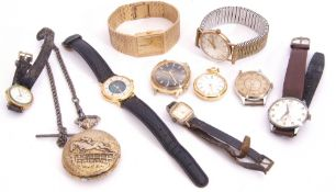 Mixed Lot: gent's last quarter of 20th century gold plated Rotary quartz movement wrist watch with