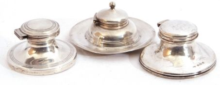 Mixed Lot: three silver capstan inkwells, each of typical form, hinged lids (loaded), London 1906,