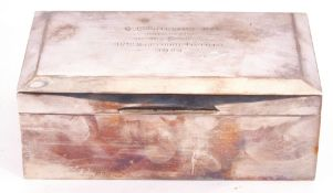 """George V silver table cigarette box, the hinged lid with presentation engraving """"G.C. Phillips R.N"""