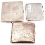 """Mixed Lot: Rectangular shaped silver cigarette case, engine turned decoration, monogrammed with """""""