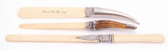 Group of three Victorian ivory bladed paper knives with silver handle/mounts, 26cm, 22cm and 19cm