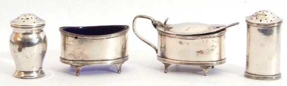 George V three piece silver cruet set of oval form comprising a mustard and liner with hinged lid,