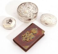Mixed Lot: modern circular hallmarked lidded box embossed with a squirrel in its dray, 5cm diam,