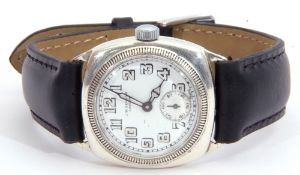 Gent's second quarter of 20th century import hallmarked silver cased wrist watch with Swiss made