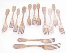 Mixed Lot: Georgian and Victorian Fiddle pattern dessert and table forks, three table forks London