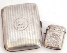 Mixed Lot: George V silver cigarette case of rectangular shape with central engraved cartouche and