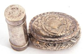 Late Victorian small embossed oval box with hinged lid, 5cm x 4cm x 2.5cm, Chester 1896 by James
