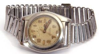 Gent's 1940s Rolex Oyster Perpetual Certified chronometer with stainless steel case, bubble back,