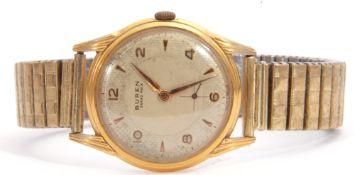 Gent's mid-20th century Buren Grand Prix Swiss made wrist watch with mechanical movement, gold hands
