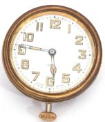 Second quarter of 20th century nickel cased car watch of inset type, with button wind, having