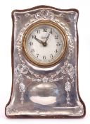 """Edward VII silver mounted mantel clock, the dial printed """"Maxwal, made in Germany"""", the silver front"""