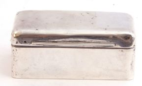 Late Victorian silver small table box of rectangular plain polished form, the full hinged lid