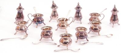 Mixed Lot: four three-piece small condiment sets comprising pepper, open cauldron salt and open