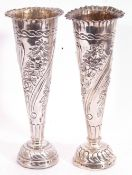 Pair of Victorian silver bud trumpet vases, of slender tapering form, flared rims, the bodies