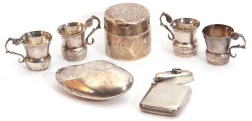 Mixed Lot: late Victorian cylindrical travelling ink well with metal interior and loaded base,