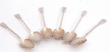 """Set of six Victorian silver tea spoons, scalloped shell bowls and twisted stems, engraved """"N"""","""