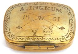 """Victorian brass snuff box of shaped rectangular form, the hinged lid engraved with """"A Ingrum"""", dated"""