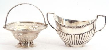 Mixed Lot: Edward VII small silver basket of circular form, the body and pedestal pierced with