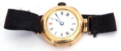Ladies first quarter of 20th century import hallmarked 15ct gold cased wrist watch with unnamed