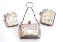 Mixed Lot: ladies small engraved rectangular evening purse with foliate engraved decoration,
