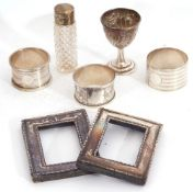 Mixed Lot: Edward VII silver egg cup, pair of small photographs frames of rectangular form,