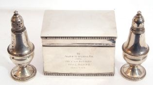 Mixed Lot: George VI solid silver box, of casket form, the hinged lid and base with gadrooned