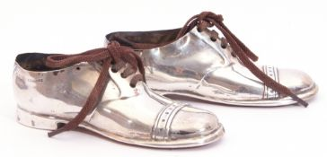 Pair of Edward VII novelty pin cushions in the form of a pair of man's shoes, brogue form with